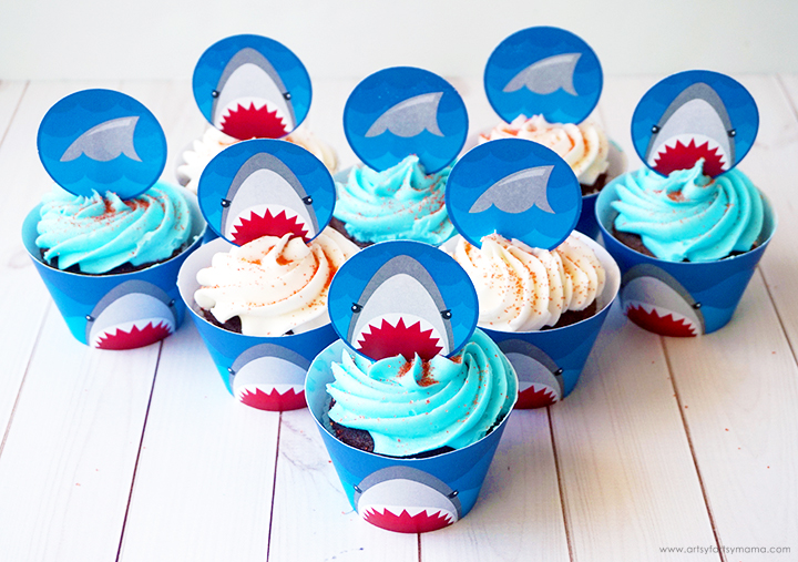Free Printable Shark Week Cupcake Toppers & Wrappers