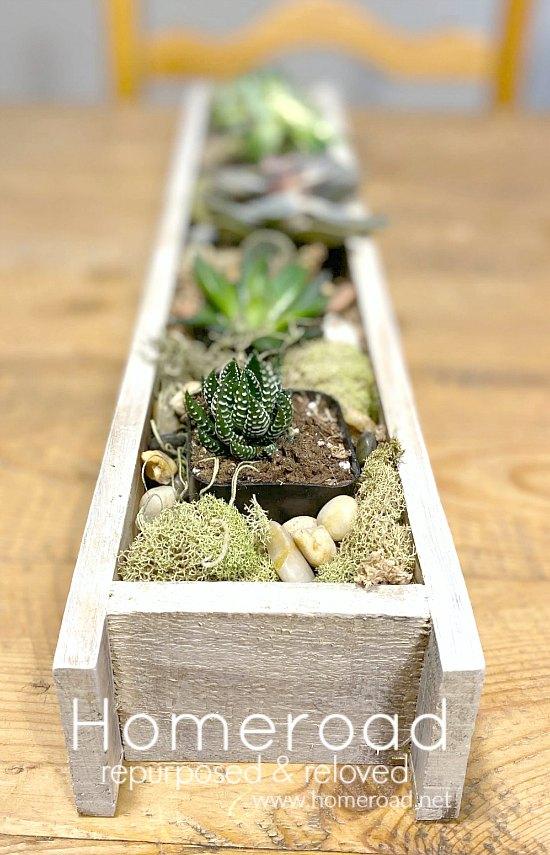 Stenciled Rustic DIY Succulent Planter
