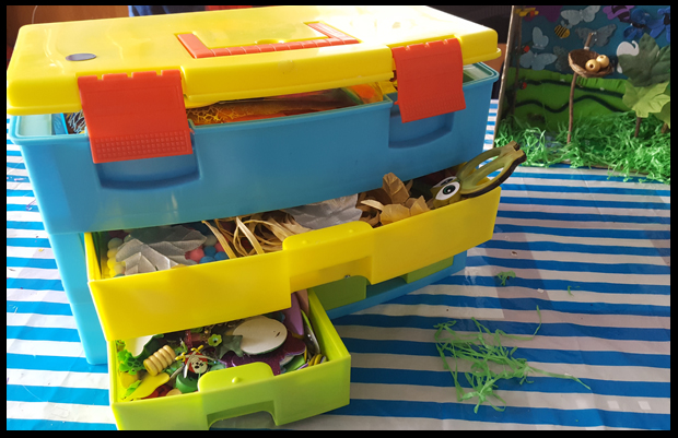 Get a kids craft storage box, they will love having a rummage in here whenever a new project is proposed