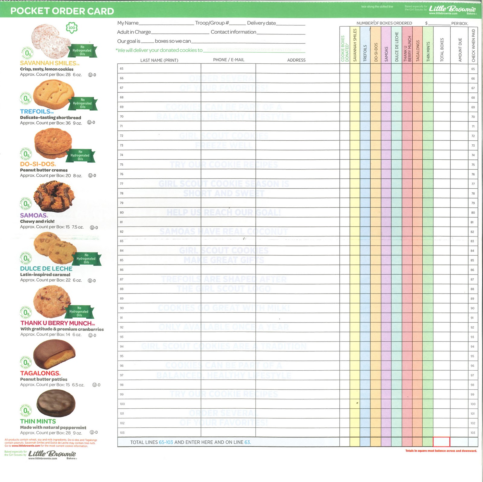 Striking image inside girl scout cookie order form printable