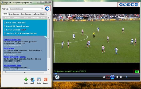 SopCast 4.2.0 - Watch live football, TV, K + online free