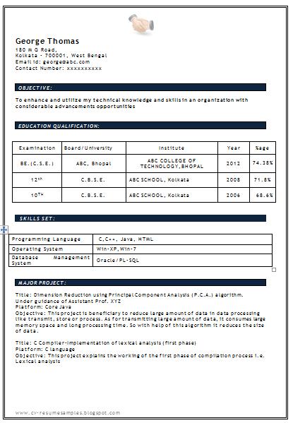 B Com Graduate Resume Sample. resume format for software engineer ...