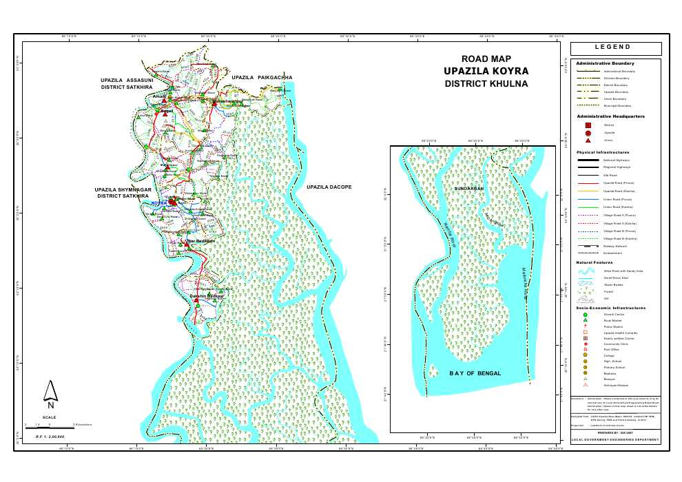 Koyra Upazila Road Map Khulna District Bangladesh
