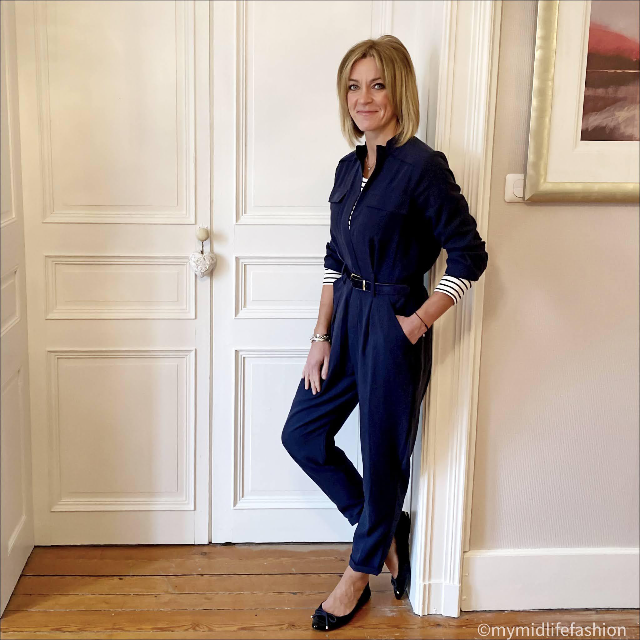 my midlife fashion, baukjen hanna top, baukjen emery lyocell jumpsuit