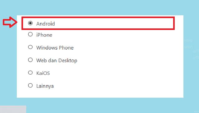 Klik Android di Pilihan Opsi Hubungi Kami WhatsApp