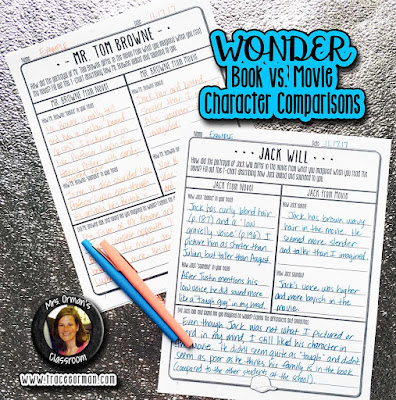 Wonder book and movie character compare contrast activities  www.traceeorman.com