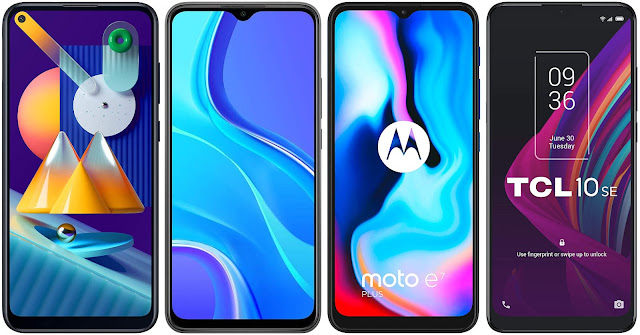 Samsung Galaxy M11 vs Xiaomi Redmi 9 vs Motorola Moto E7 Plus vs TCL 10 SE