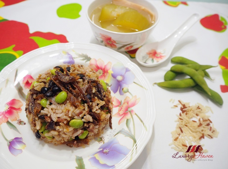 healthy brown rice with dace fish edamame recipe