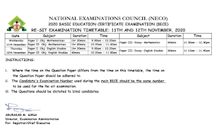 2020 NECO BECE Resit Timetable [11th - 12th November] | Unity Schools