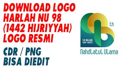 LOGO HARLAH NU 98 RESMI - TAHUN 1442 H (2021) - DOWNLOAD LOGO HARLAH NU 98 HIJRIYAH - CDR PNG BISA DIEDIT