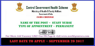 Staff Nurse Vacancy CGHS Chennai September 2017 Central govt job