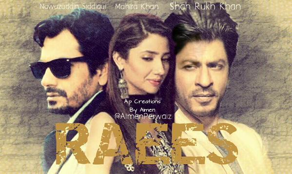 newaz uddin and sharukh khan and mariha khan on raees movie poster
