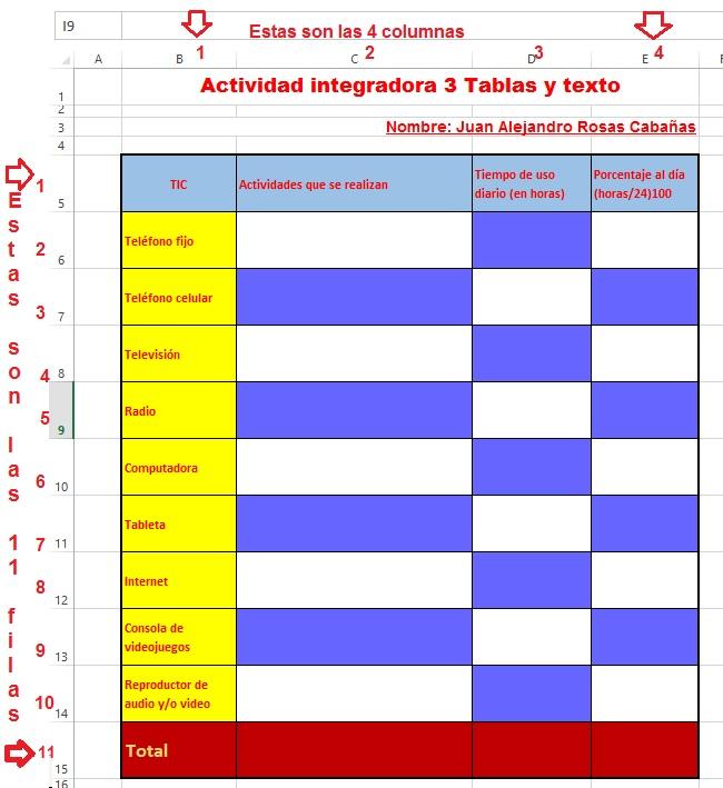 Proyecto Prepa en Línea-SEP: Actividad integradora 3 Tablas y texto