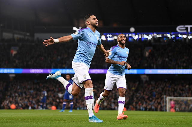 Mahrez and Sterling celebrate Man City goal against Chelsea in 2-1 Premier League victory