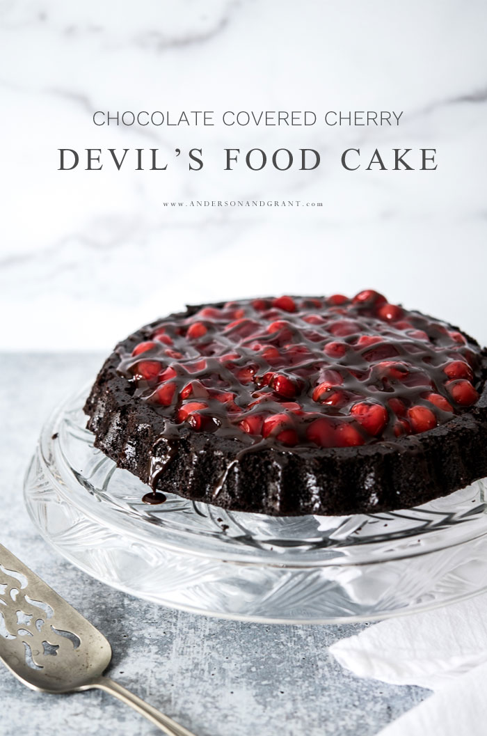 Chocolate covered cherry devil's food cake