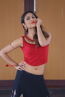 Telugu Actress Nishi Ganda Stills in Red Blouse and Black Skirt at Tik Tak Telugu Movie Audio Launch .COM 0308.JPG