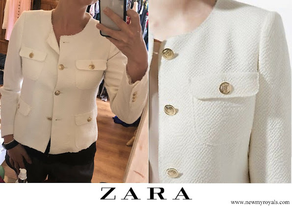 Princess marie wore Zara ivory summer tweed blazer with gold-buttons