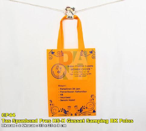 Tas Spunbond Pres HS-H Gusset Samping BK Polos