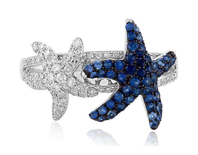 White Gold Sapphire and Diamond Starfish Ring