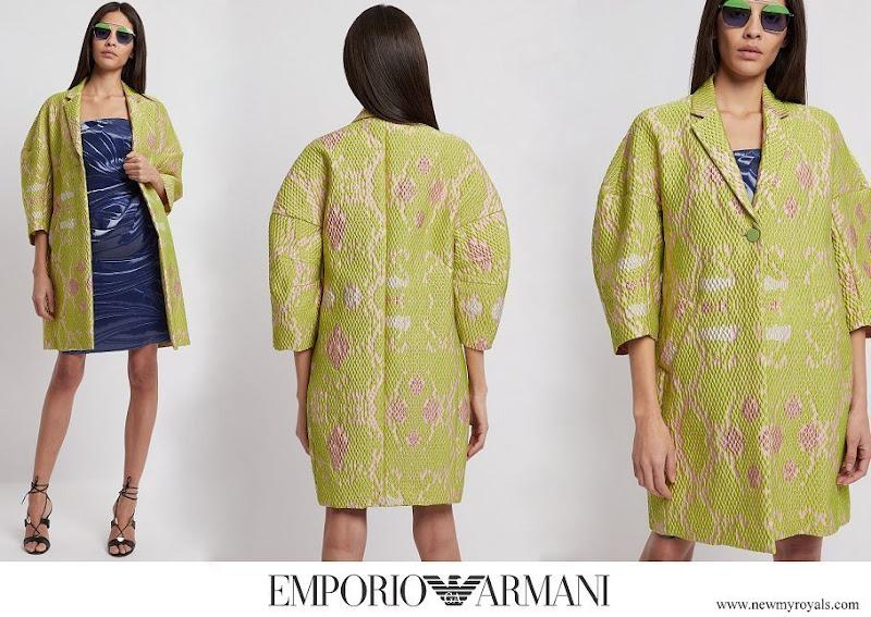 Belgian Queen Mathilde wore a new Emporio Armani floral coat