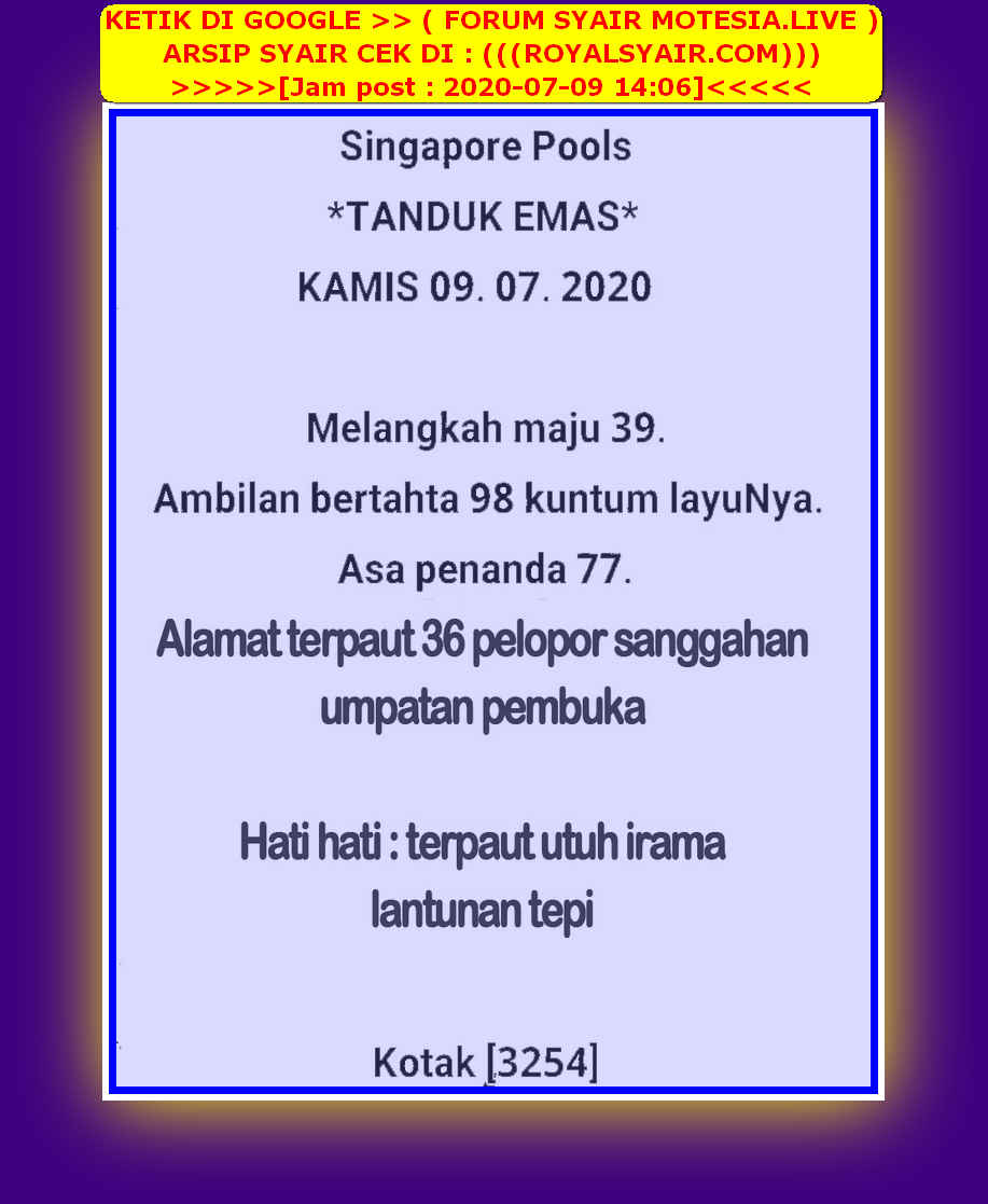 Kode syair Singapore Kamis 9 Juli 2020 22
