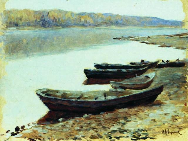 Исаак Ильич Левитан - Волжский пейзаж. Лодки у берега. 1877-1878