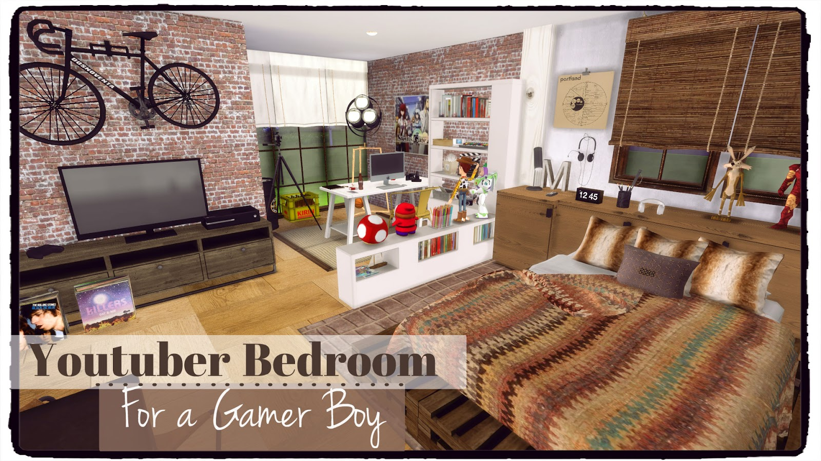 Sims 4 youtuber bedroom for a gamer boy dinha for Bedroom designs sims 4