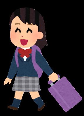 旅行に行く学生のイラスト(ブレザー・女性1)