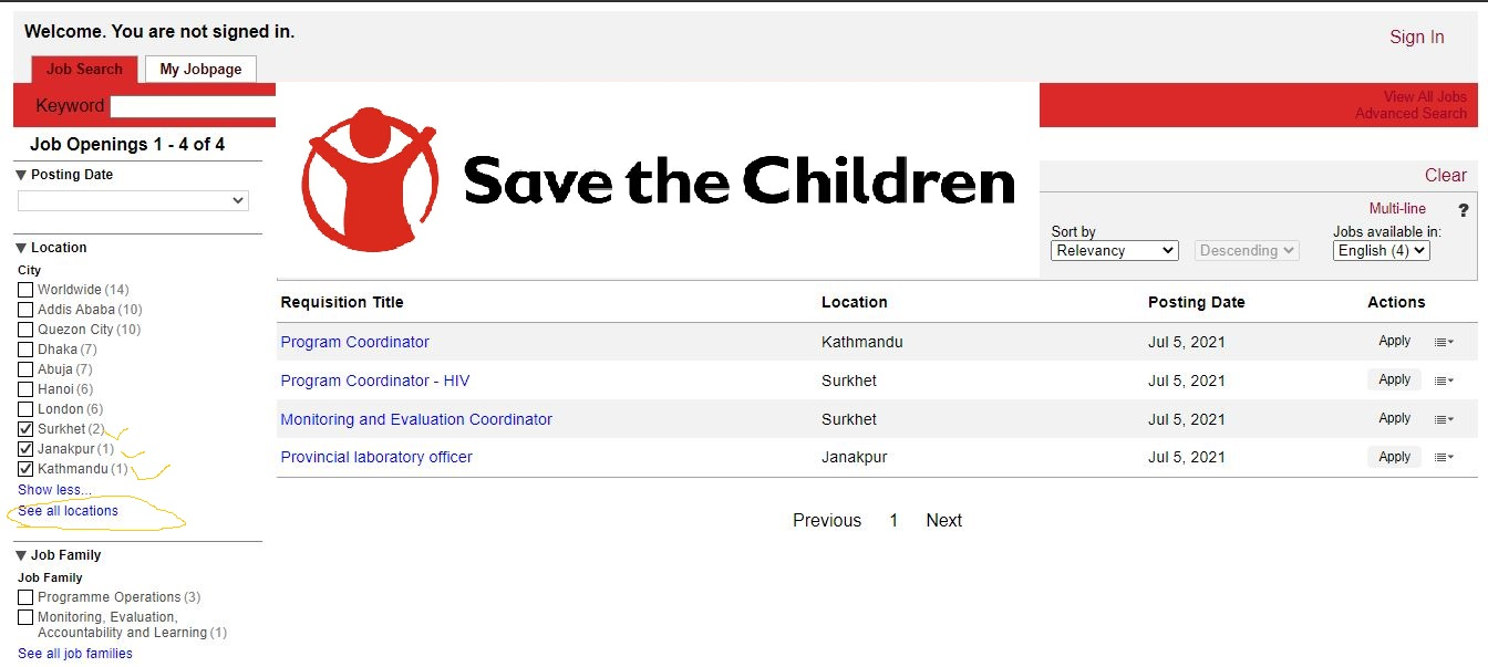 Save the Children Vacancy for Coordinator and Officer