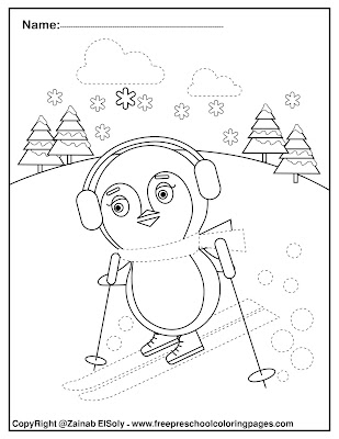 penguins activities for preschoolers fine motor skills tracing and coloring winter coloring pages for kids