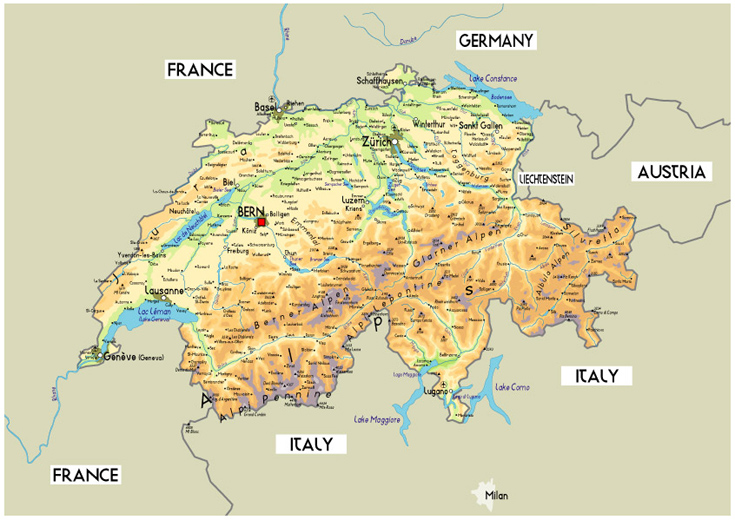 Suíça | Mapas Geográficos da Suíça