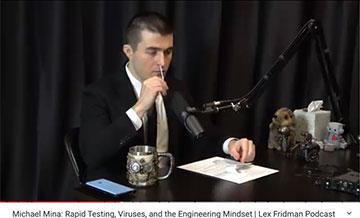 Lex Fridman gets a nasal swab sample for self test (Source: Lex Fridman, Dec 18, 2020 podcast)