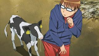 Bohater anime Gin no Saji, Yugo Hachiken po raz pierwszy spotyka cielaka