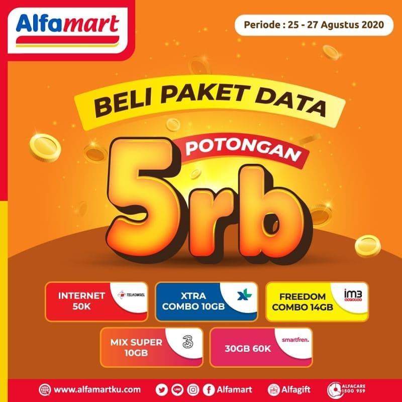 Promo Alfamart Diskon Potongan Rp 5.000 Tiap Beli Paket Data Periode 25 - 27 Agustus 2020
