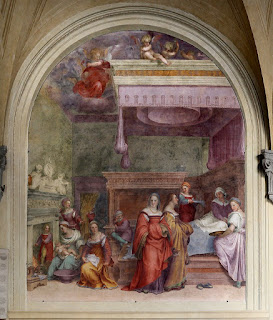 Del Sarto's Nativity of the Virgin at the Basilica della Santissima Annunziata in Florence.