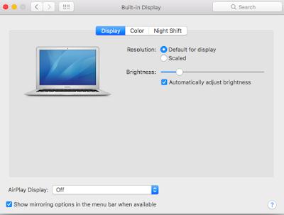 Display Arrangement Tab MacOS Sierra
