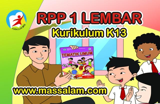 Contoh RPP K13 1 Lembar SD/MI Semester 2 Tematik