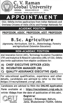CVR Global University Biotech Faculty Job Opening