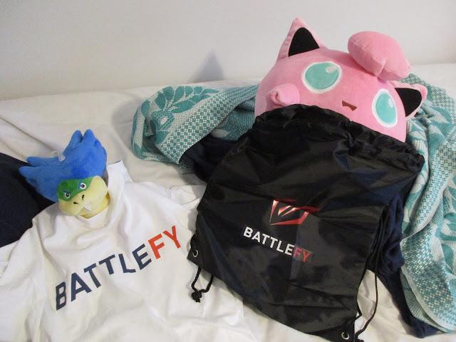 Battlefy merchandise white shirt black bag Ludwig Von Koopa plushie Jigglypuff
