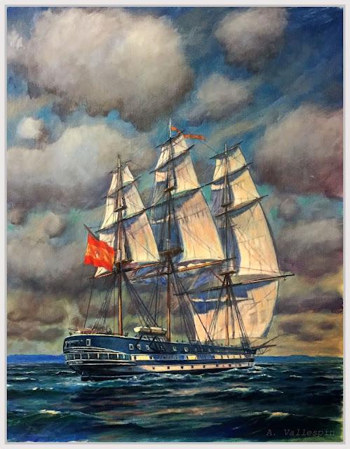 Óleo de la fragata Princesa de Asturias de la Armada Española