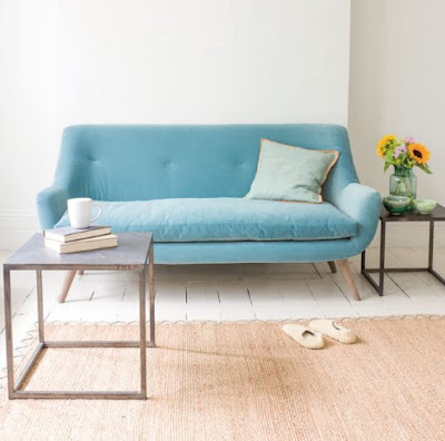 Aqua blue mid-century sofa for apartment living room with small space