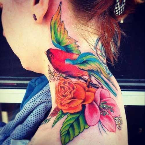 watercolor bird and flower tattoo for neck