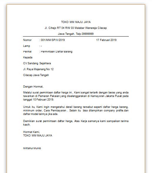 contoh surat official style depdiknas