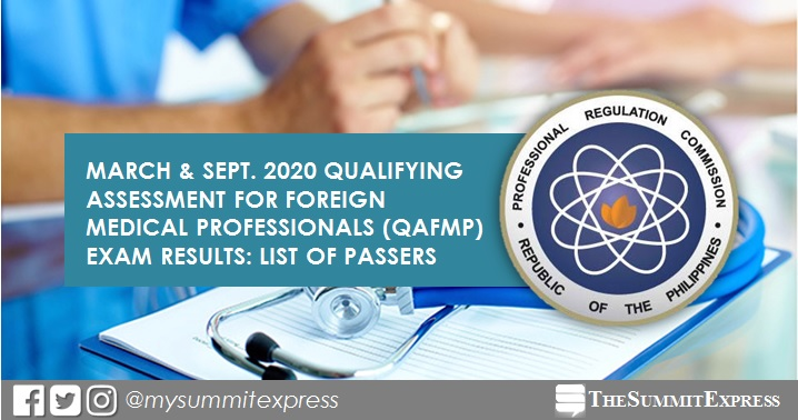 QAFMP RESULT: March-September 2020 Foreign Medical Professionals passers