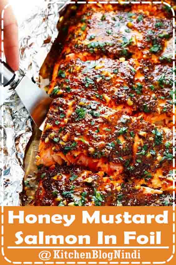 4.9★★★★★ | This Honey Mustard Salmon recipe features a homemade honey mustard sauce that is super delicious (and easy to adapt if you like to go heavier on the honey or mustard side). It can also be cooked quickly and easily in the oven or on the grill -- your choice. #HoneyMustard #SalmonFoil