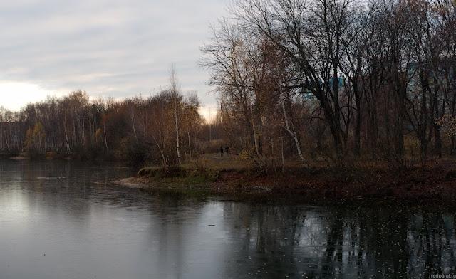 Грустный и темный пейзаж с озером