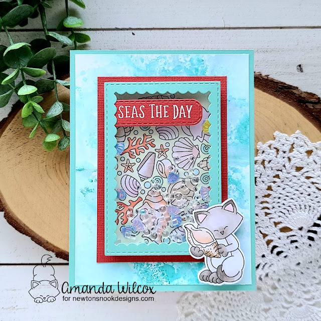Seashell card by Amanda Wilcox | Seashell Roundabout Stamp Set, Newton's Seashell Stamp Set, Banner Trio Die Set and Framework Die Set by Newton's Nook Designs #newtonsnook