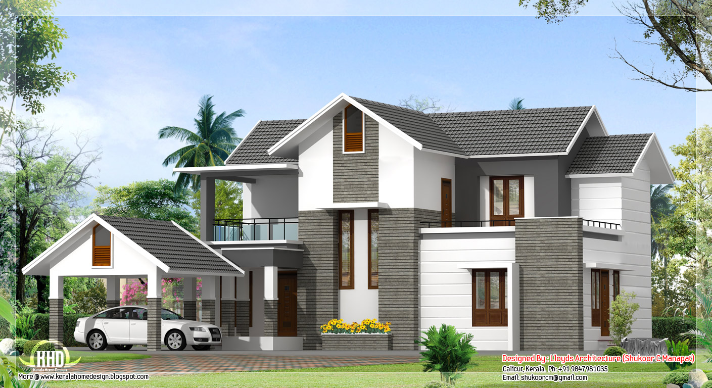 2000 sq feet contemporary villa plan and elevation for Home plans designs kerala