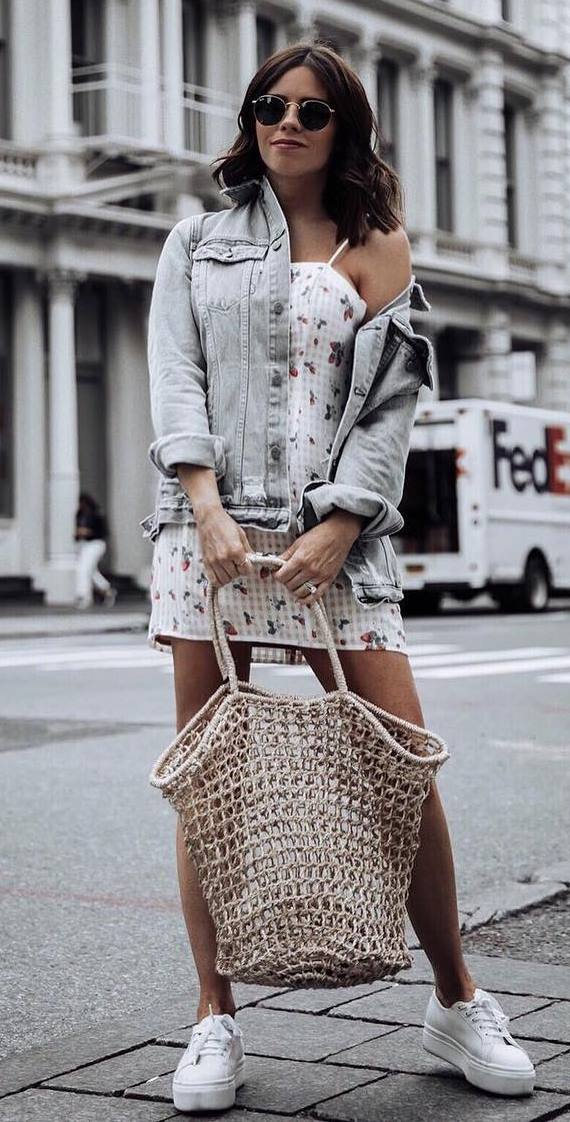 how to wear a denim jacket : bag + printed dress + sneakers