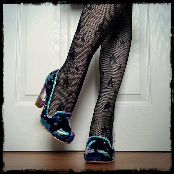 wearing Irregular Choice Stars At Night velvet cat shoes